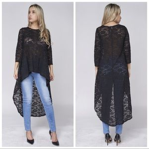 Tops - NEW High Low Black Lace Top also in Plus Size